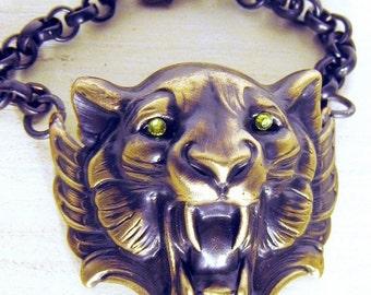 ON SALE Lion Head Bracelet, Lion Bracelet, Cuff Bracelet, Lion Cuff, Lime Green, Crystal Eyes, Edgy Jewelry, Cuffed Lion Head, Dark Patina