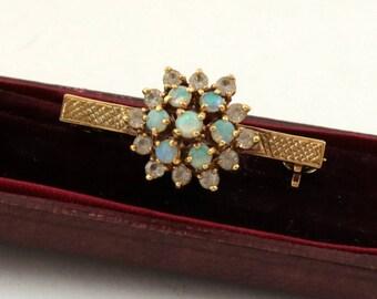 Vintage Natural Opal Brooch, Bar Pin