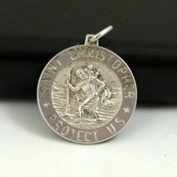 Vintage Saint Christopher Protect Us Medal Pendant, IBB Italy