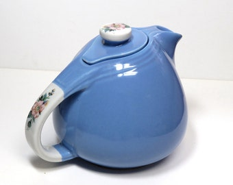 Vintage Hall's Rose Parade Art Deco Teapot #1259/ Blue with Floral on White Handles