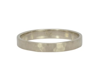 14K Palladium White Gold Hand Forged 3mm Band, Hammered Texture Matte Wedding Ring,  Sea Babe Jewelry