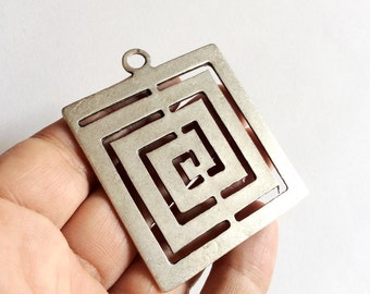 1pc- Matte Silver plated Huge Square Spiral Pendant- 63x53mm-(419-038)