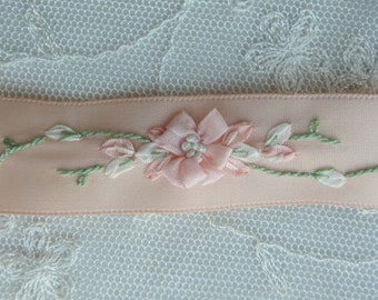 33.5 Inches Hand Embroidered Peach Satin Ribbon Flower Trim Baby Doll Christening Gown