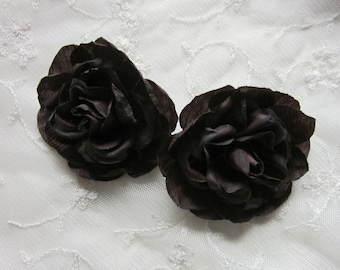 2pc Chocolate Brown Cabbage Rose Fabric Flower Applique Crinkle Victorian Hat Corsage