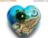 ON SALE 50% OFF Turtle Cove Heart (Large) 11834725 - Handmade Glass Lampwork Bead