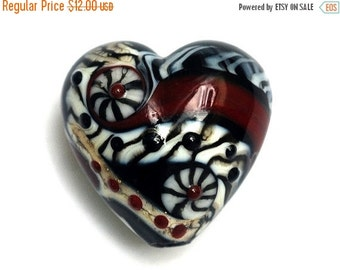 ON SALE 35% OFF Dakota Quilt Heart Focal Bead 11834105 - Handmade Glass Lampwork Bead