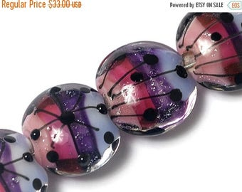 ON SALE 40% OFF Four Purple Rainbow Lentil Beads 10605012 - Handmade Glass Lampwork Bead Set
