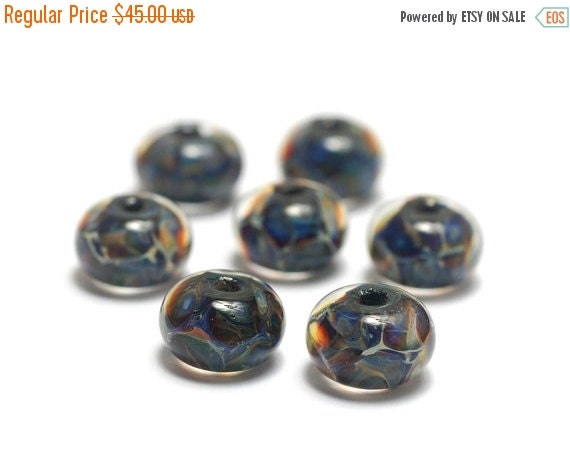 ON SALE 35% OFF Seven Blue-green & Purple Rondelle Beads - Handmade Glass Lampwork Bead Set 10408801