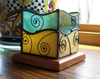 Stained Glass Tealight Candle Lantern-Stained Glass Home Decor-Glass Candle Holder-Aqua Amber Glass Decor-LED Candle Lantern