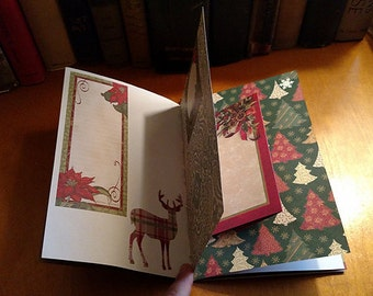 Decorated Pages Junk Journal Red and Green Christmas Notebook Scrapbook Mini Album