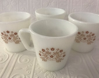 Four Vintage Pyrex Summer Expressions Mugs