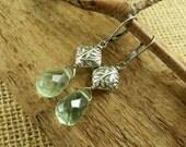Willow - Artisan Sterling Silver Earrings - Sterling and Green Fluorite Earrings - Artisan Sterling Silver Jewelry