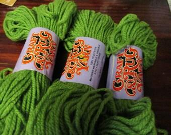 Destash  Lot of 3 Skeins of K Mart Brand Rug Yarn Grass Green
