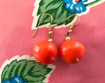 Vintage Mod Orange Lucite Ball Earrings