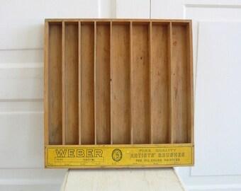 Vintage Artist Case, Art Wood Box, Art Supply Storage, Vintage Divided Box, Art Case, Art Box, Vintage Artist Brushes Box, Artist Case