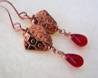 Ruby Red Earrings, Blood Red and Copper Earrings, Red Teardrops and Bright Copper Earrings
