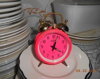 "Groovy Bradley Hot Pink Alarm Clock made in Japan sold ""as is"""
