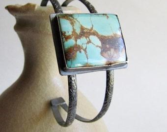 Royston Turquoise Double Band Cuff Bracelet - Royston Turquoise - December Birthstone - Modern Boho Chic - Boho Style Jewelry