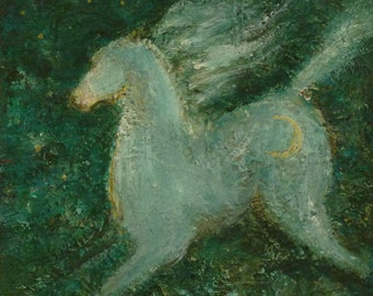 Horse painting modern turquoise green grey horse art crescent moon