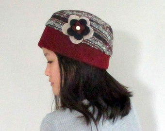 Red Striped Wool Cloche with Fleece Lining and Detachable Flower from The Bent Tree Gallery