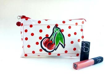 cosmetic bag, wet bag, clutch, makeup bag, toiletry storage, vanity storage, travel bag, rockabilly cherries, gift for her, camera bag