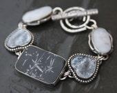 chrysanthemum stone, dendritic agate, shadow agate and sterling silver metalwork link bracelet