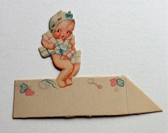 Vintage Place Card Ephemera Baby Shower Child 1930s Unused NOS