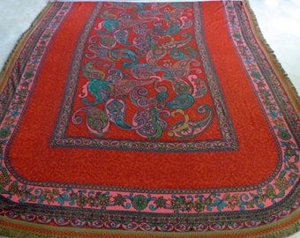 Vintage Bates Bedspread Orange Teal Turquoise Paisley,  Twin, Full, Double Bedspread - Vibrant Colors