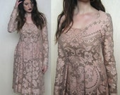 sale --was 275-- IN STOCK AsA Claribel Vintage Pale Rose Lace Dress S/M