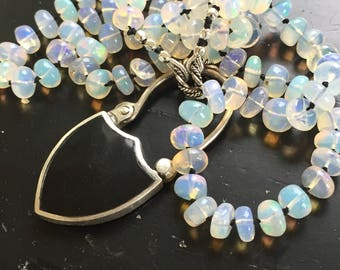 Antique Padlock and Opal Necklace