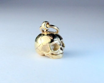 9K solid yellow gold embryo skull with optional gold vermeil chain