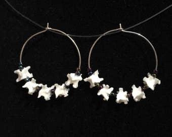 Real Boa Vertebrae And Dichroic Rainbow Glass Beads Silver Hoop Earrings