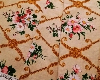 Vintage Unused French Floral Barkcloth Fabric