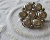 Vintage Button -1 medium size beautiful and open work flower design, clear rhinestones  silver metal  (apr 51 17)
