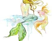 Mermaid Art, Art Print, Mermaid, Mermaid Painting, Watercolor Print, Beach Art, Ocean Art, Beach House Decor, Fish, Bath Decor, Majik Horse