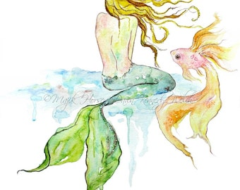 Mermaid Art, Art Print, Mermaid, Mermaid Painting, Watercolor Print, Beach Art, Ocean Art, Beach House Decor, Fish, Bath Decor, Majik Horse