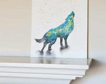 Wolf Spirit Animal ORIGINAL Watercolor 9x12
