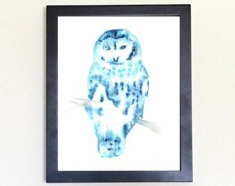 Barred Owl Galaxy Spirit Animal Art Print Watercolor, Totem Guide