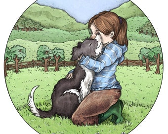 Border Collie Hug 9x9 Open Edition Print