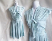 Vintage 50s Dress Size S Blue White Plaid Cotton Shirtwaist 60s Rockabilly Day