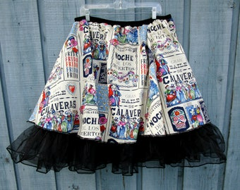 RESERVED// Folklorico Baile de Calaveras Frida Candy Skull Rockabilly Cowgirl Swing Skirt// Large XL// Day of the Dead// emmevielle