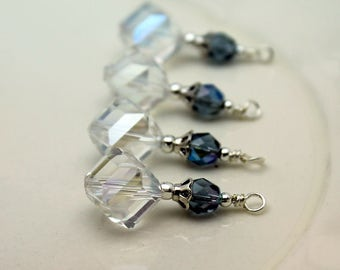 Clear AB Cut Crystal with Montana Blue Czech Bead Pendant Charm Earring Dangle Drop Beaded Set