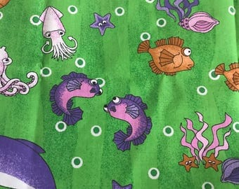 Fun Underwater Sea Creature Fabric, Quarter Yard