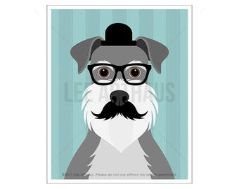 245D Dog Print - Schnauzer Dog with Glasses and Mustache Wall Art - Dog Wall Art - Miniature Schnauzer Print - Dog Portrait - Dog Nursery