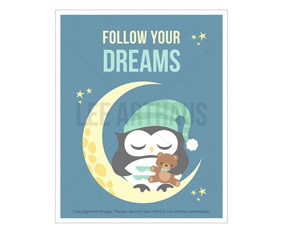 4T Owl Wall Art - Follow Your Dreams - Baby Boy Owl on Moon Wall Art - Baby Boy Room Art - Owl Nursery Theme - Owl Home Decor - Owl Gift