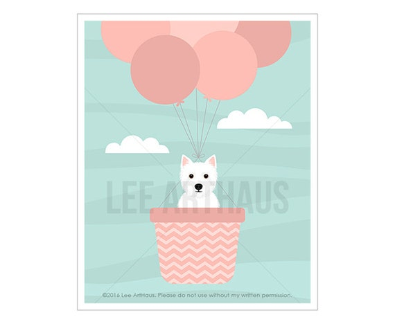 63F Dog Print - Westie in Pink Hot Air Balloon Wall Art - Pink Balloons Print - Pink Girl Nursery Decor -  West Highland White Terrier Print
