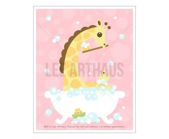 33A Giraffe Print - Giraffe in Bathtub Wall Art - Nursery Giraffe Wall Art - Bath Decor - Bathroom Wall Art - Art for Nursery - Giraffe Baby