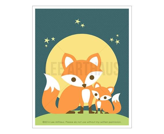 57A Fox Nursery Print - Mom with Baby Fox Wall Art - Woodland Fox Nursery Art - Fox Decor - Art for Nursery - Art for Kids Room - Fox Print