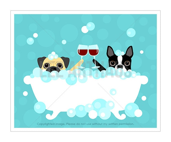 130D Wine Art - Pug and Boston Terrier with Wine Glasses Wall Art - Dogs Toasting Wine Glasses - Pug Print - Boston Terrier Art - Bath Art