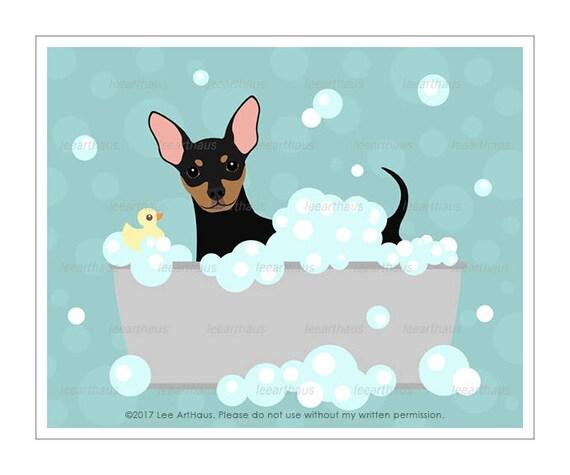 274D Dog Print - Min Pin in Bubble Bath Wall Art - Miniature Pinscher Print - Min Pin Drawing - Bath Decor - Dog Wall Art - Dog Drawing